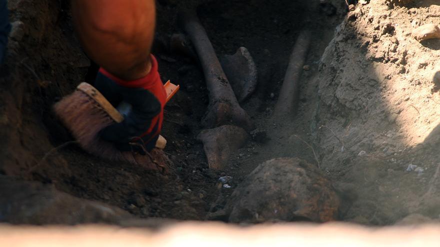 Restos óseos localizados en la búsqueda de las 16 rosas de Zufre. | JUAN MIGUEL BAQUERO