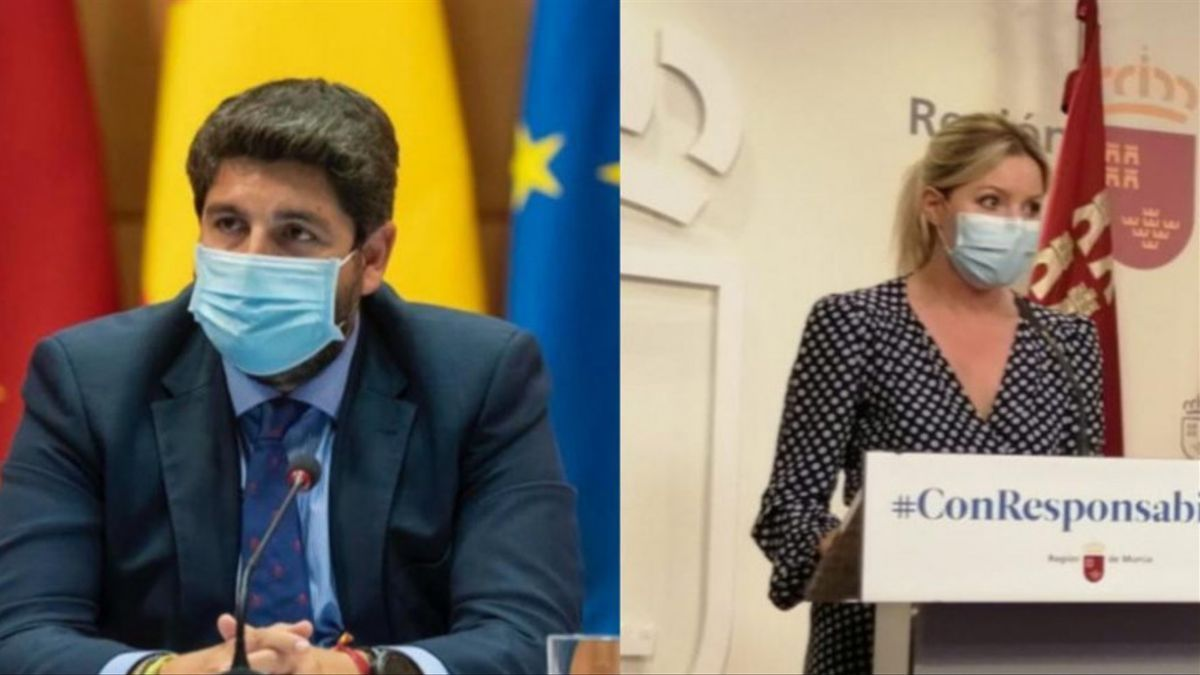 El presidente de la Comunidad y líder del PP, Fernando López Miras, y la portavoz del Ejecutivo regional y líder de Ciudadanos, Ana Martínez Vidal