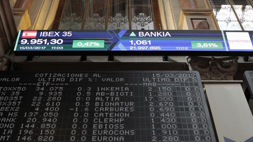 La Bolsa española sigue por encima de los 10.000 puntos al subir el 1,03 por ciento
