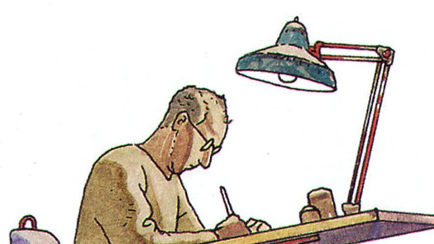 Jean Guiraud, también conocido como Moebius en un autorretrato realizado en 1992.
