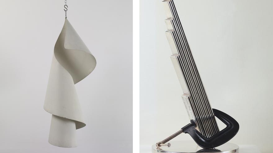 Obras de la sección 'Objetos de ensueño: rayogramas y objetos'. En orden de aparición: 'Lampshade' (1919 /1959) 'New York 17' (1917 / 1966)