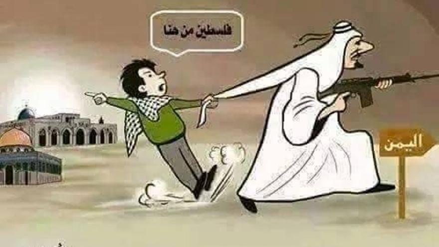 """Viñeta que circula por las redes sociales. El niño dice """"oiga, que Palestina es por ahí"""". El cartel señala YEMEN."""