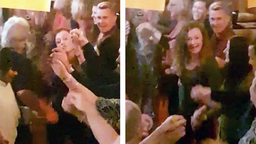 Vídeo en el que se ve a Amy Gerard bailando con el grupo de amigos y de la mano de su novio