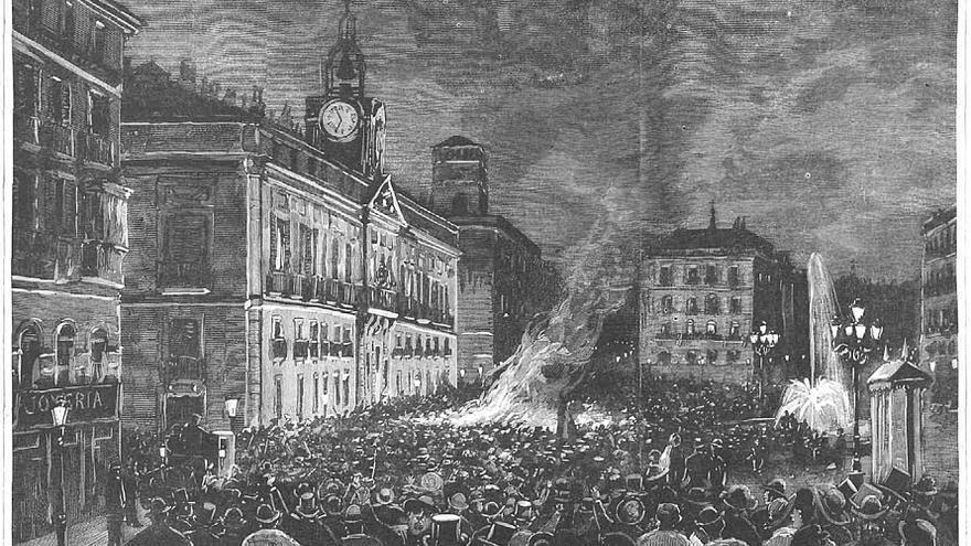 Manifestación congregada el 4 de septiembre de 1885 en la Puerta del Sol Madrileña