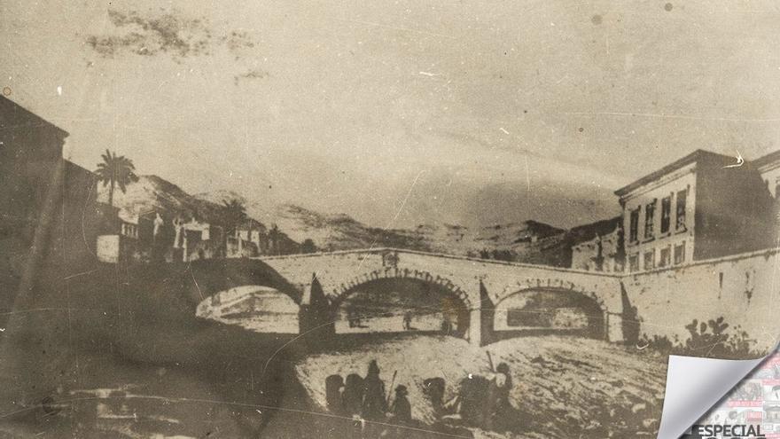 Puente de Piedra, barranco Guinigüada, 1857. (Williams J.J.)