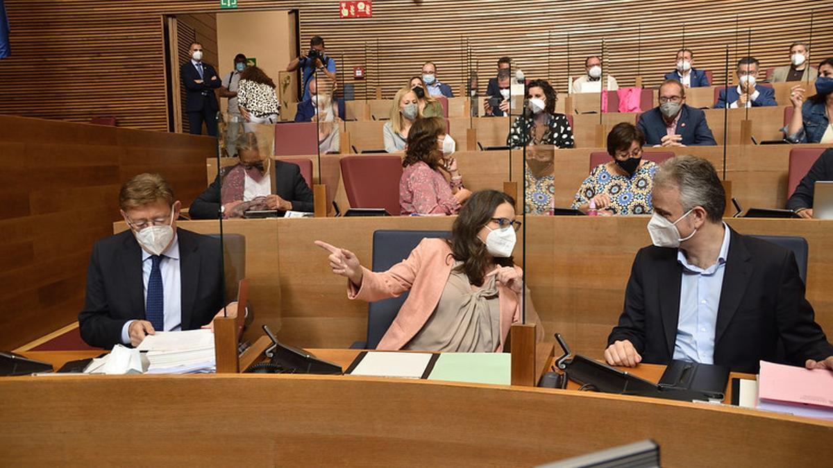 Ximo Puig, Mónica Oltra y Héctor Illueca en el debate de política general en las Corts Valencianes.