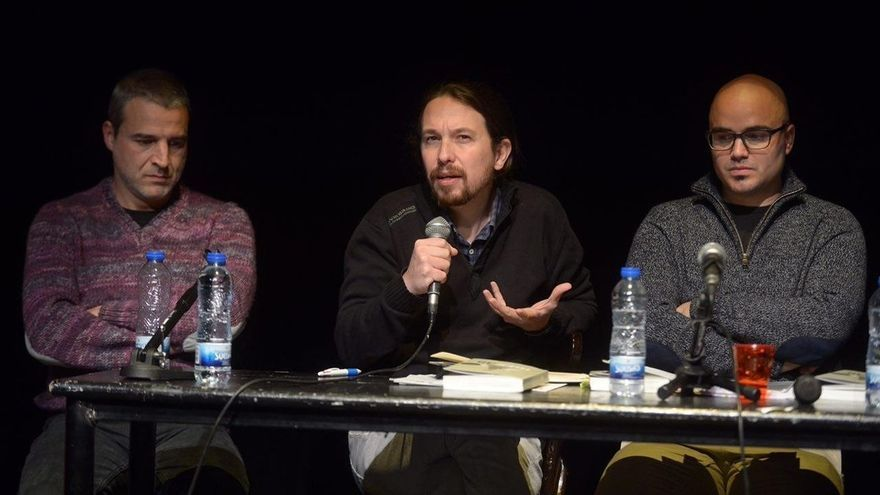 Alberto San Juan, Pablo Iglesias y Rubén Juste.