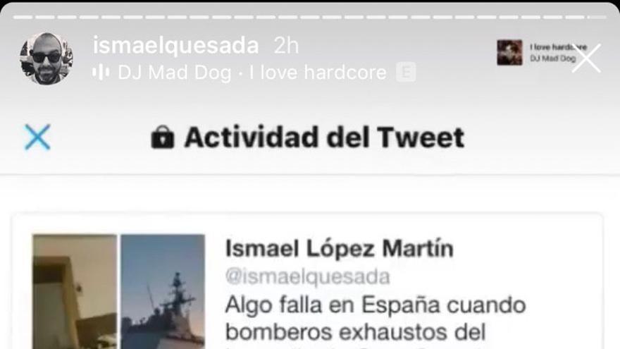 Pantallazo de Twitter en el que López presume del alcance de su mensaje.