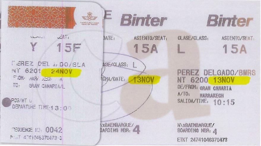 Billetes de avión de la viceconsejera de Medio Ambiente del Gobierno de Canarias