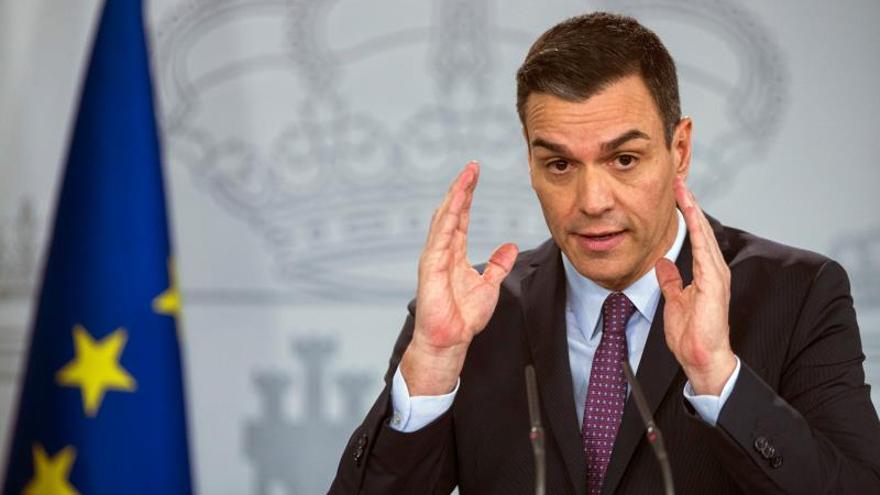 El presidente del Gobierno, Pedro Sánchez, en una comparecencia.