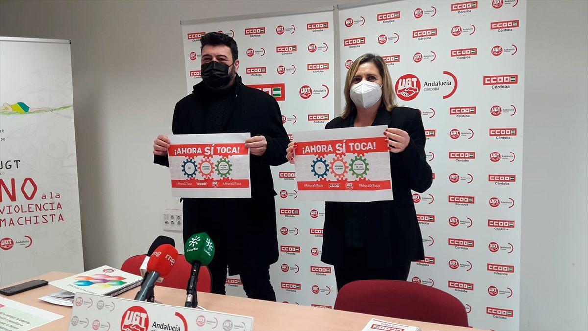 Vicente Palomares (UGT) y Marina Borrego (CCOO) avanzan las movilizaciones para el 11 de febrero en Córdoba.