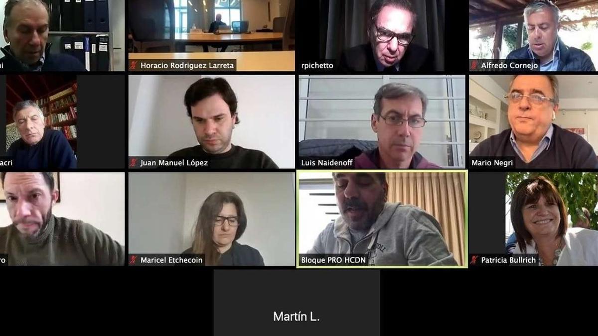 Los dirigentes de Juntos por el Cambio se reunieron por videoconferencia.