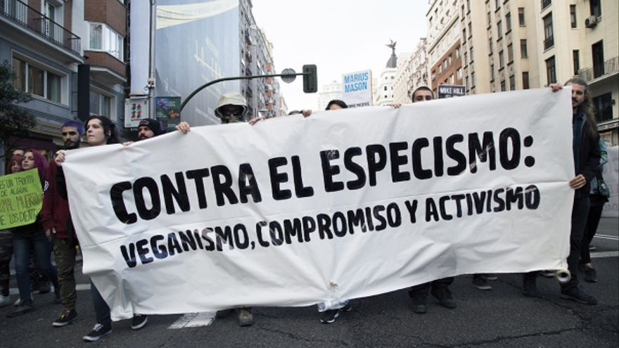 Pancarta en la manifestación del 4N Antiespecista de 2017