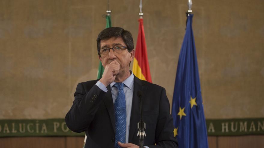 El líder de Cs en Andalucía, Juan Marín, comparece tras firmar un acuerdo de gobierno con el PP andaluz.