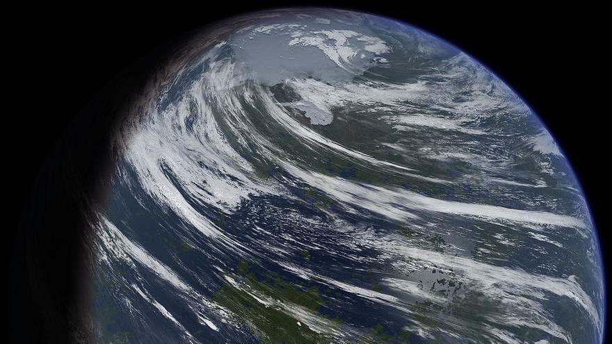 Impresión de un artista sobre el aspecto de un planeta Venus que en otro tiempo hubiera tenido agua en abundancia.