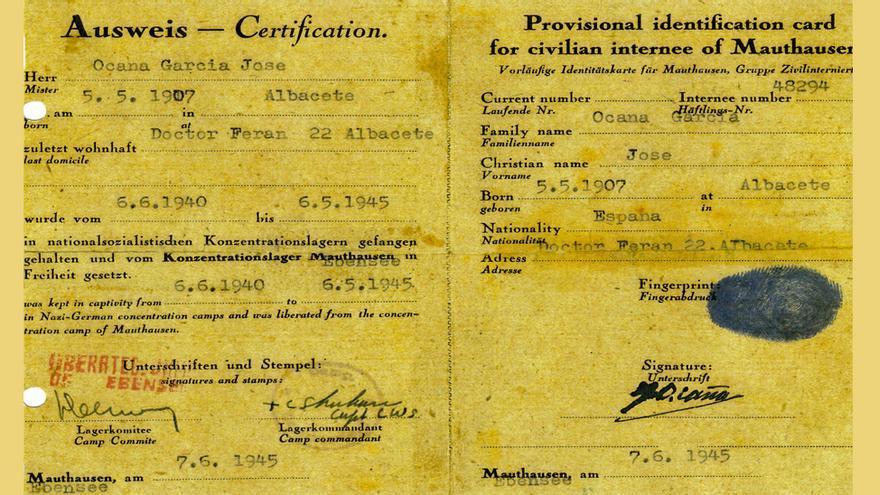 Identificación provisional expedida a un deportado español de Mauthausen tras la liberación