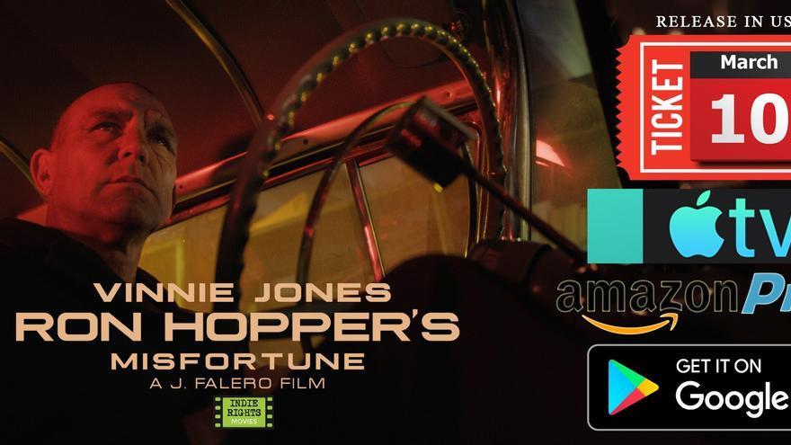 Cartel de la película 'La desgracia de Ron Hopper' con Vinnie Jones como protagonista.