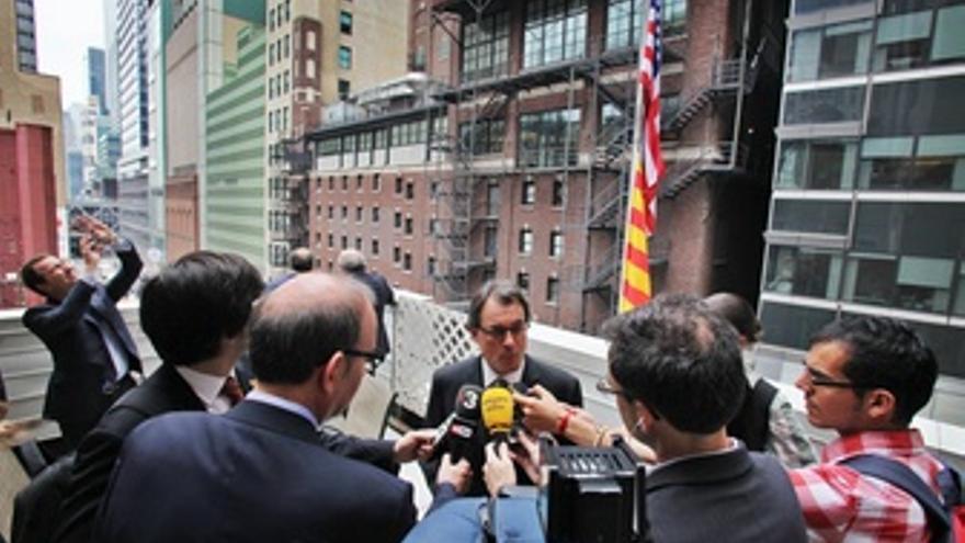 El President A.Mas En Declaraciones A Los Medios En Nueva York