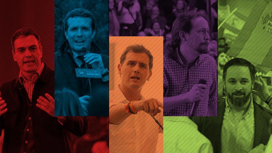 Los cinco candidatos, como piezas de trivial