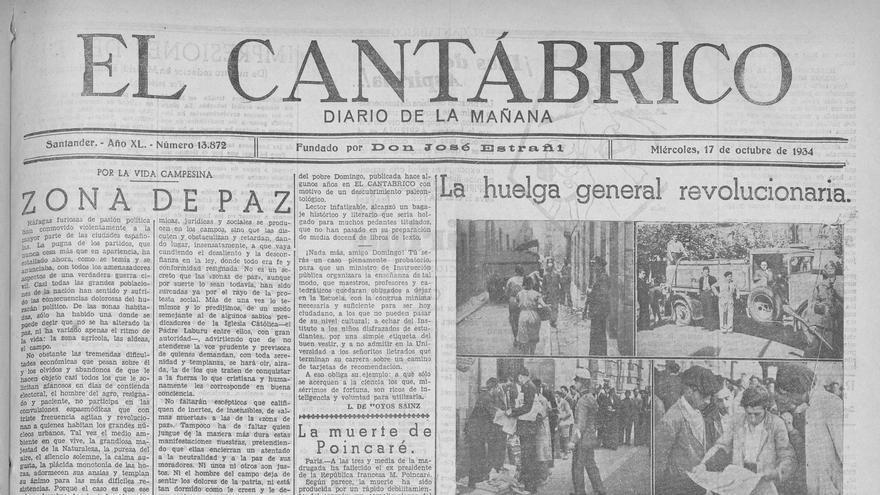 Portada de 'El Cantábrico' el 17 de octubre de 1934. | DESMEMORIADOS