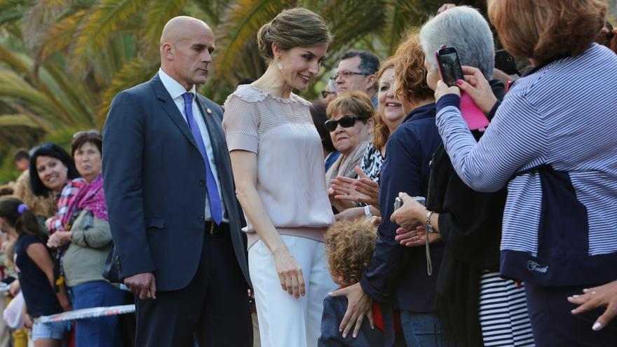 Letizia Ortiz a la salida del polideportivo de El Batán