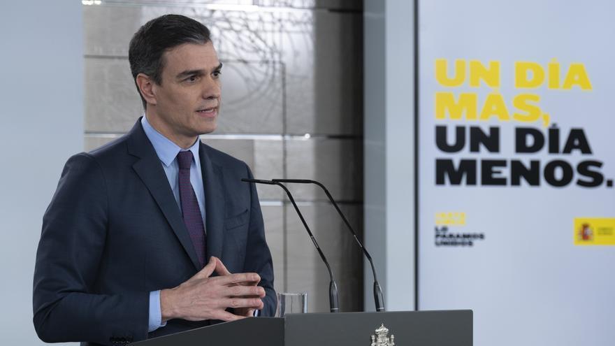 Pedro Sánchez, durante la comparecencia en la que ha anunciado una nueva prórroga del estado de alarma.