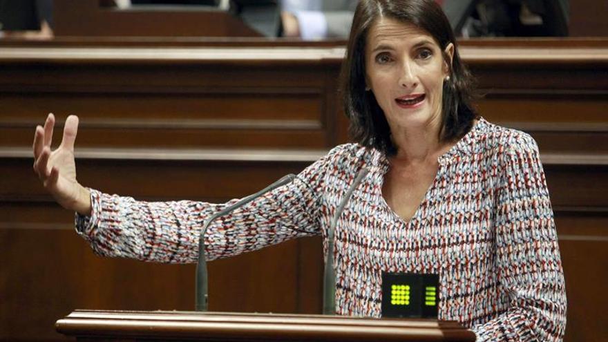 La consejera de Turismo del Gobierno de Canarias, María Teresa Lorenzo, durante una de sus intervenciones en la segunda sesión del Parlamento regional. (EFE/Cristóbal García)