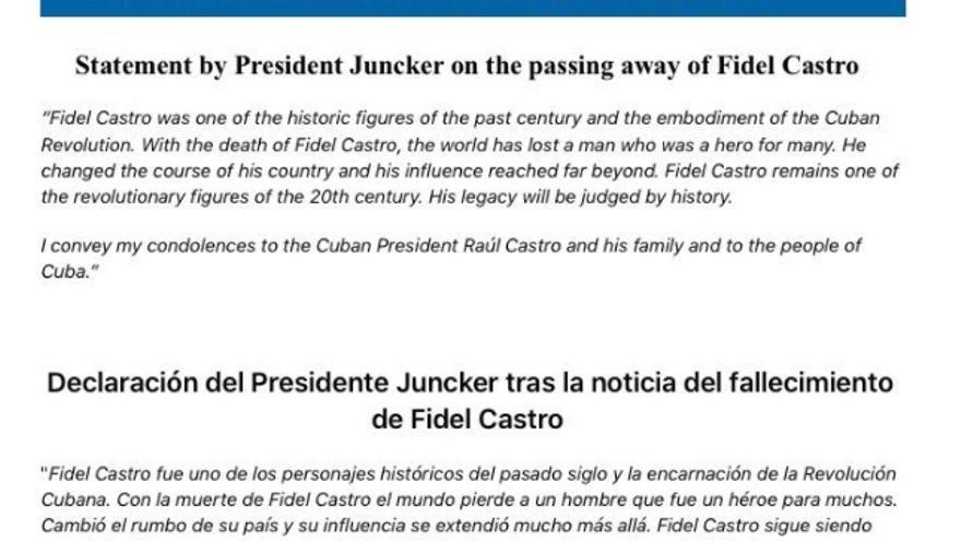 Comunicado de Jean Claude Juncker sobre la muerte de Fidel Castro.