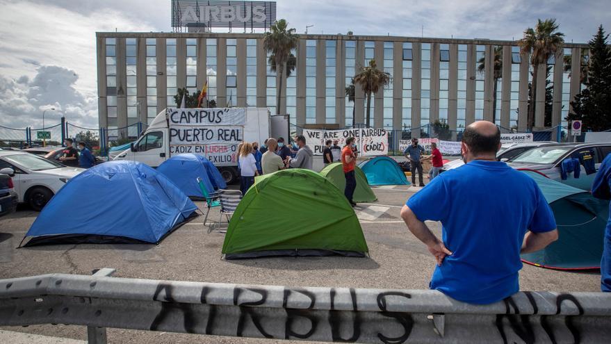 Empleados de Airbus Puerto Real terminan el encierro y anuncian nuevas protestas
