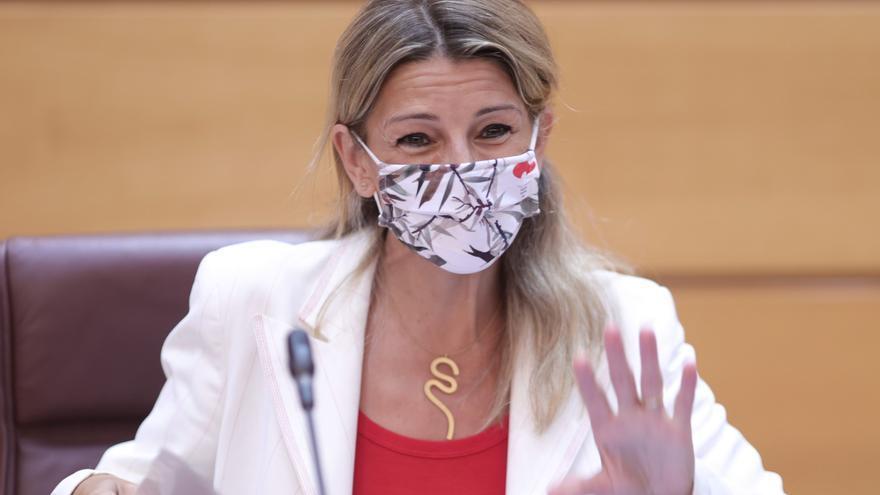 Yolanda Díaz comparece en la comisión de Trabajo celebrada en el Senado