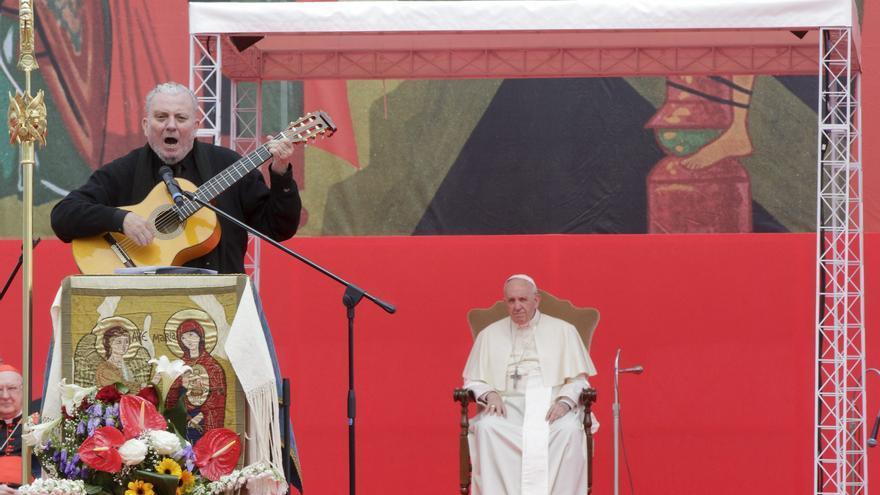 Kiko Argüello en una misa del Camino neocatecumenal en Roma en mayo de 2018