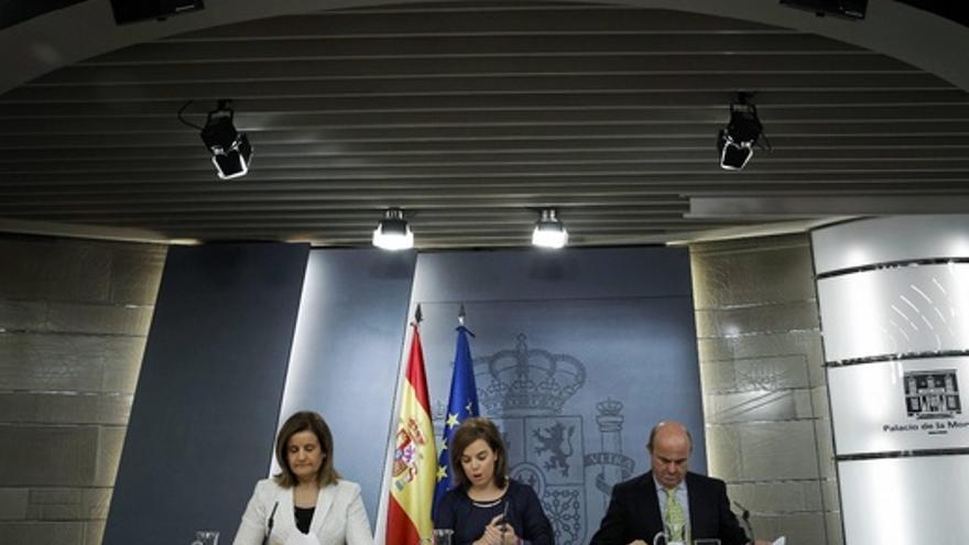La rueda de prensa tras el último Consejo de Ministros, en la que estuvieron la vicepresidenta junto a los ministros de Empleo y Economía.