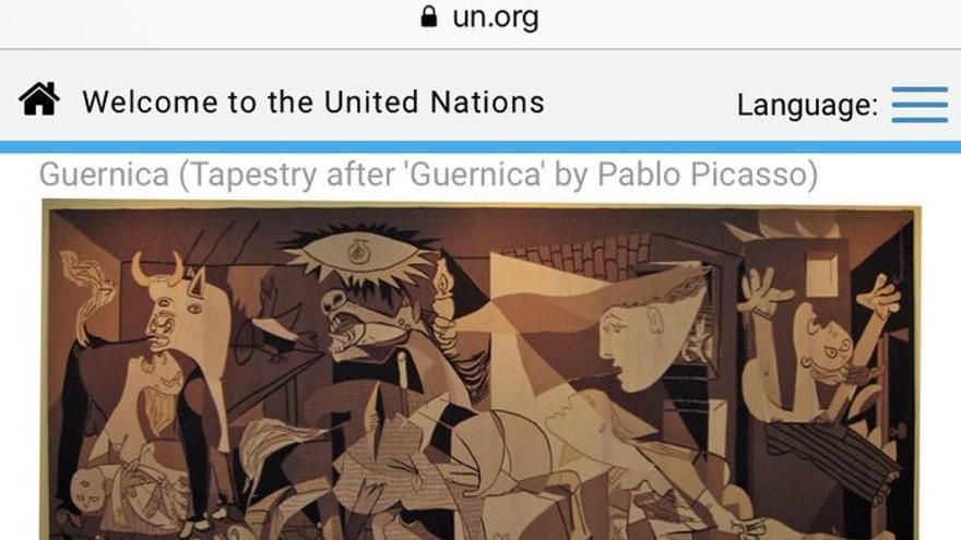 Imagen del Guernica en la web de la ONU.