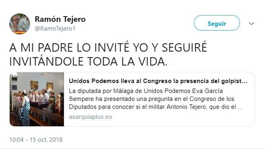 """Hijo de Tejero defiende presencia de su padre en un acto de Guardia Civil: """"Lo invité yo y seguiré invitándole"""""""