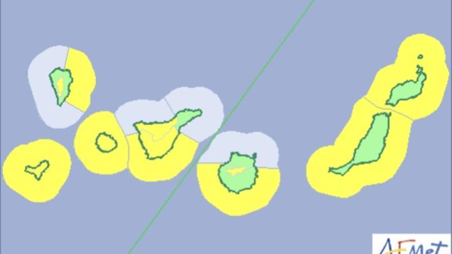 Mapa de la Aemet del aviso de riesgo por viento y fenómenos costero para este sábado.