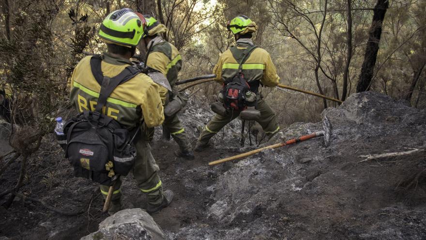 En la imagen, trabajores de la Brigada de Refuerzo en Incendios Forestales.
