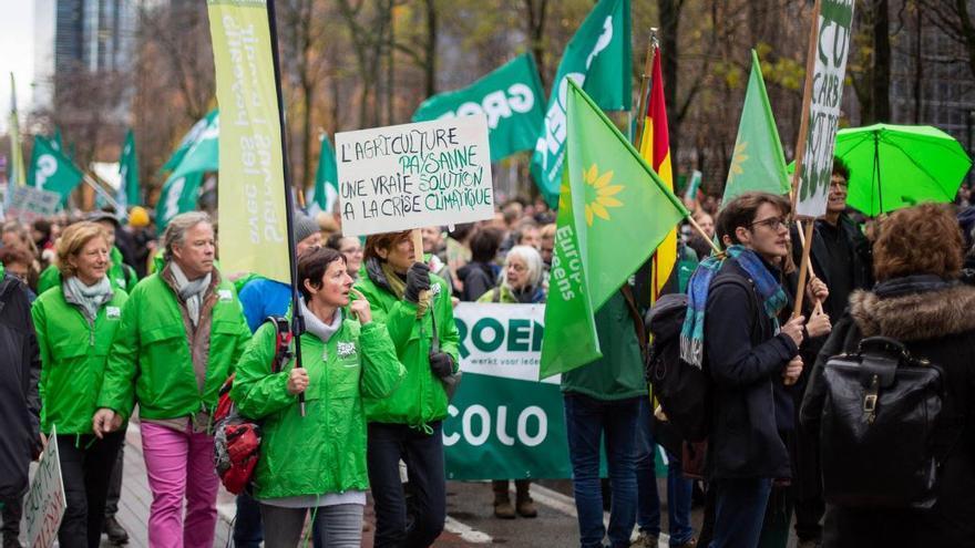 Manifestación ecologista en Bruselas, en diciembre de 2018, exigiendo acciones contra el cambio climático