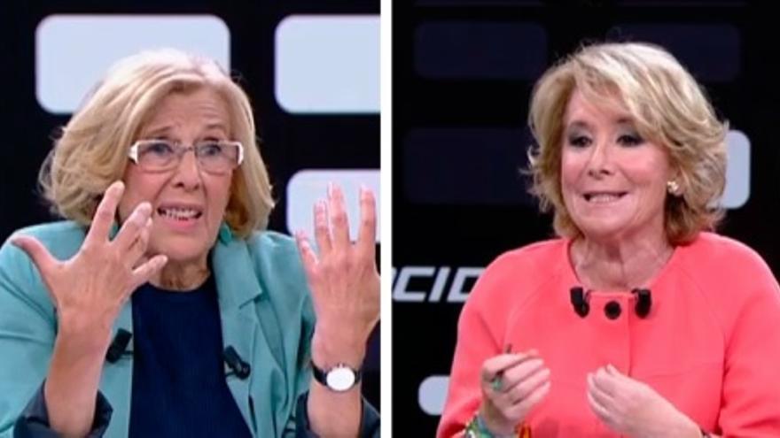 Esperanza Aguirre y Manuela Carmena en el debate de Telemadrid.