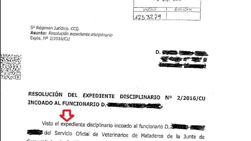 Extracto del documento que el diputado de Podemos, David Llorente, ha entregado a la prensa para demostrar que sí hubo expediente