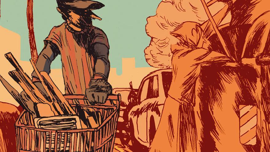Detalle de la portada de 'Barcelona. Los vagabundos de la chatarra' (Norma Editorial)