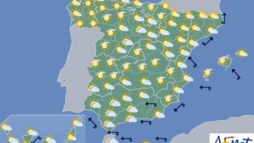 Mañana, lluvia en el Mediterráneo y temperaturas al alza en casi todo el país