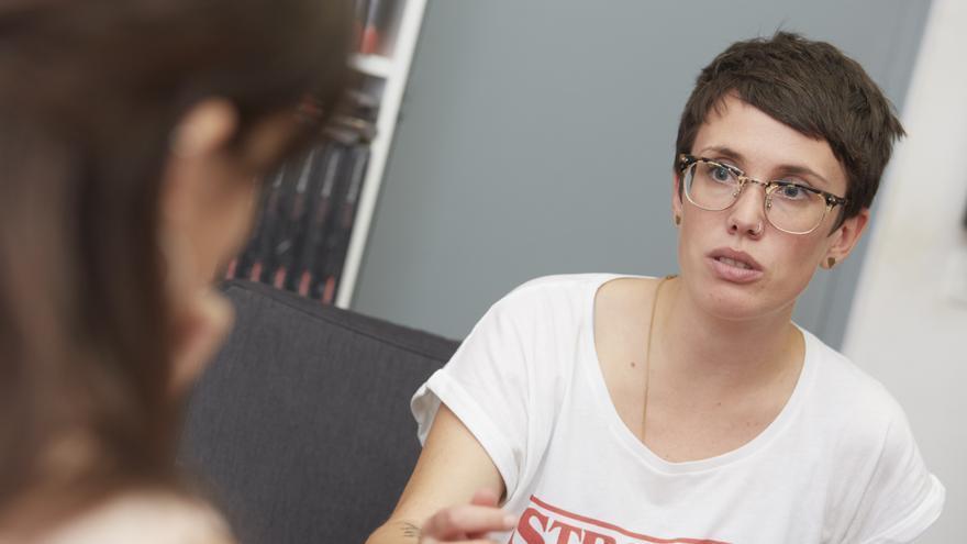 Erika Irusta, durante la entrevista con eldiario.es