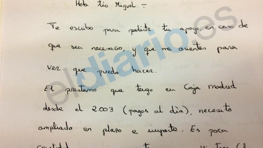 Encabezado de la carta enviada a Blesa por su sobrina