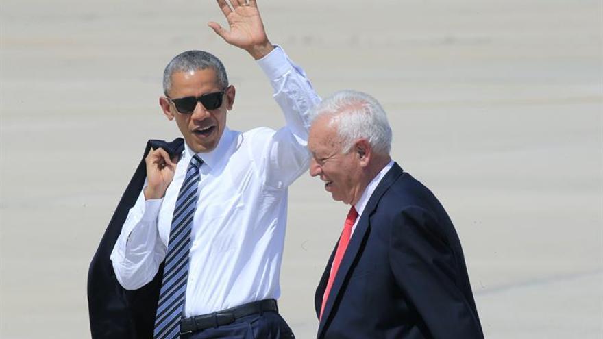 Sánchez, Iglesias y Rivera hablan unos minutos con Obama en su visita a España