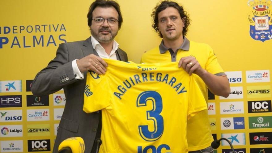 El nuevo jugador amarillo, Matías Aguirregaray, que ocupará plaza de extranjero, fue presentado por Toni Cruz.