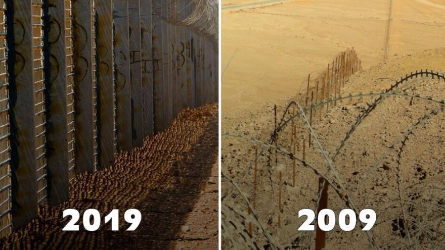 La imagen compartida por el primer ministro israelí en su perfil de Twitter con el hashtag el #10YearChallenge, con imágenes del norte de la ciudad de Eilat, en la frontera sur con Egipto.