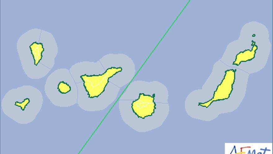 La Aemet activa el aviso amarillo por lluvias en Canarias para este jueves, 22 de octubre de 2015.