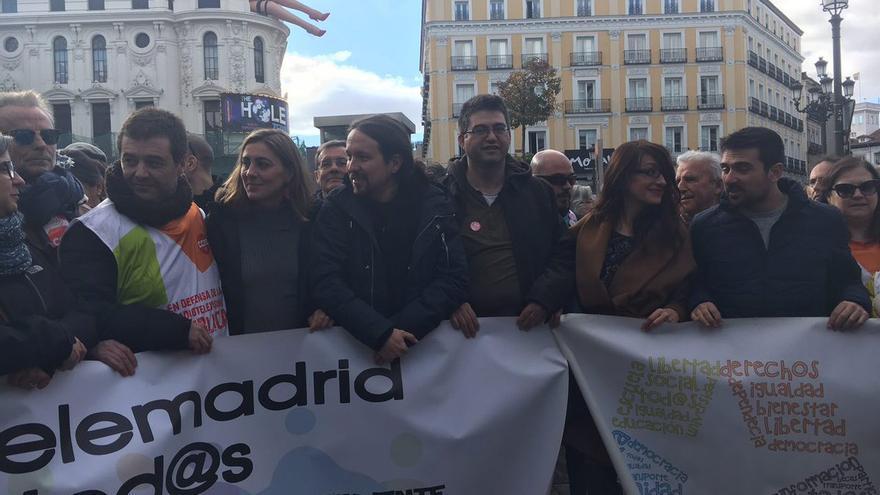 Lorena Ruiz-Huerta, Pablo Iglesias, Carlos Sánchez Mato, Sol Sánchez y Ramón Espinar.