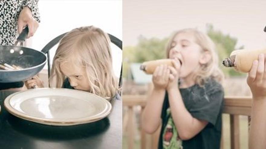 Imágenes de What the Health que muestran a niños comiendo cigarros y puros como si fueran carne