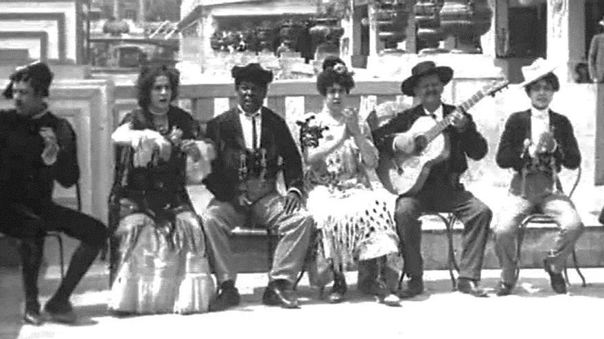 El negro Meric en un fotograma de la película 'Danse espagnole de La Feria Sevillanos', Hermanos Lumière (1900).